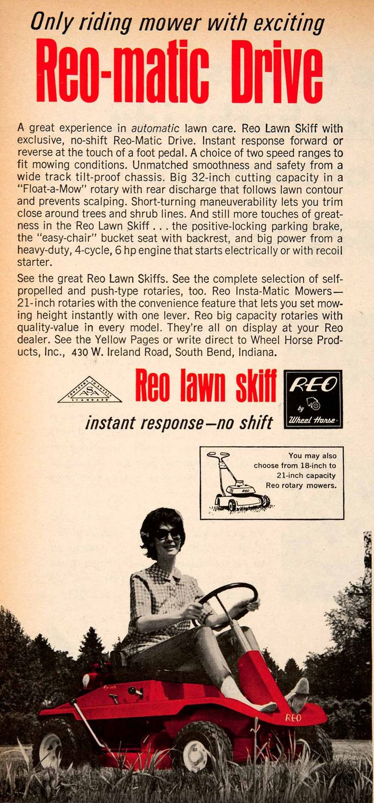 1966 Ad Reo-matic Lawn Skiff Vintage Riding Lawn Care Rotary Mower SF2