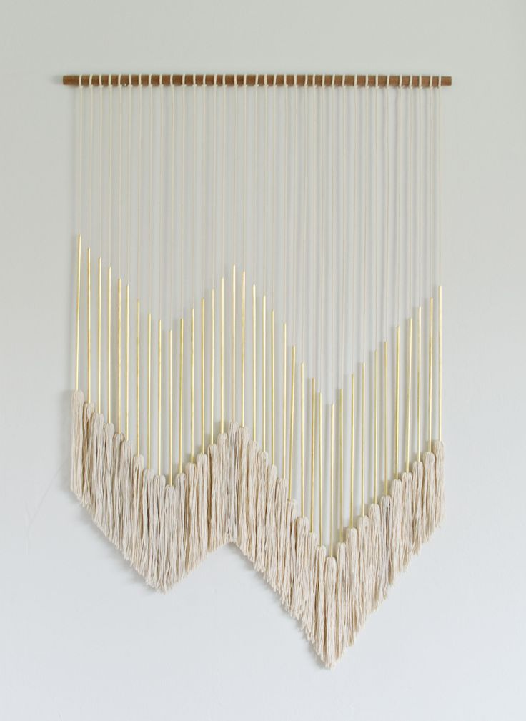 nice DIY Modern Gold Wall Hanging with Tassels