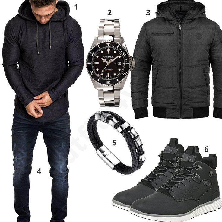 Schwarzes Herrenoutfit mit Amaci&Sons Hoodie, Blend Winterjacke, dunkelblauer Merish Jeans, Timberland Boots, schwarz-silberner Gigandet Uhr und Halukakah Armband. #gigandet #timberland #black #watch #outfit #style #herrenmode #männermode #fashion #menswear #herren #männer #mode #menstyle #mensfashion #menswear #inspiration #cloth #ootd #herrenoutfit #männeroutfit