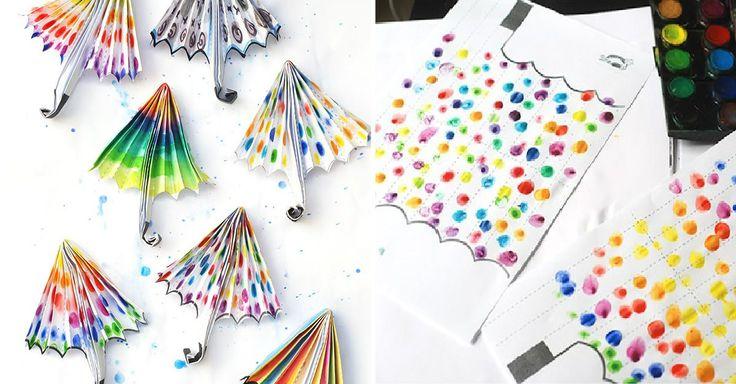 Tvoření s dětmi – duhové deštníky z papíru + šablona