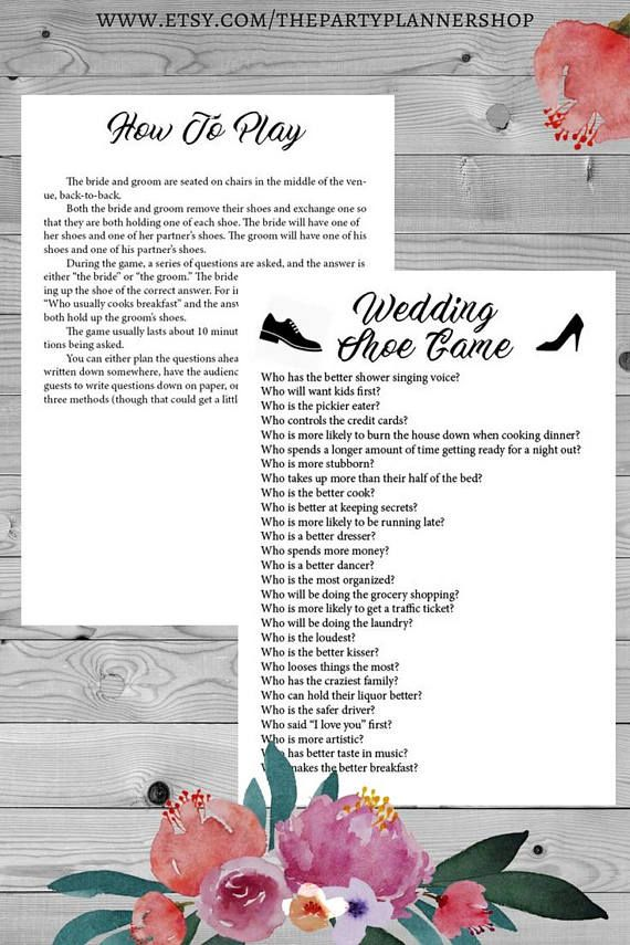 Cute Wedding Shoe Printable Game Questions Reception Fun Games WHATS