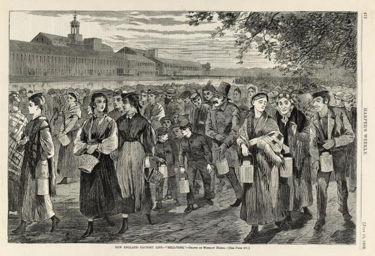 """New England Factory Life--""""Bell-Time"""", from Harper's Weekly, July 25,1868 