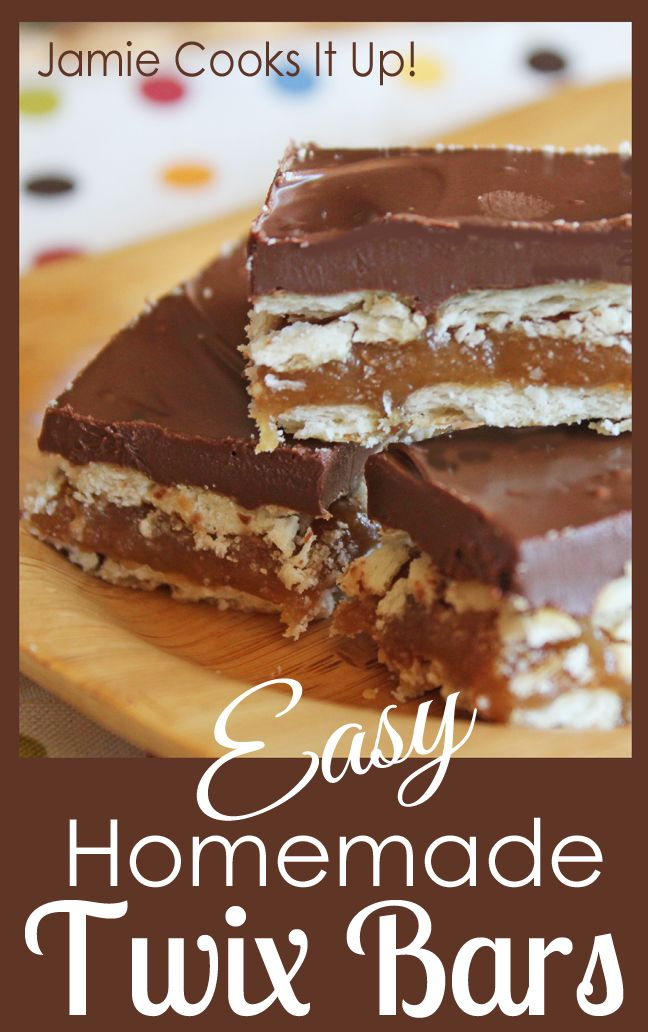 Easy Homemade Twix Bars from Jamie Cooks It Up! #homemadecany, #jamiecooksitup, #easydessert