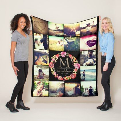 Photo grid with floral monogram fleece blanket - floral style flower flowers stylish diy personalize