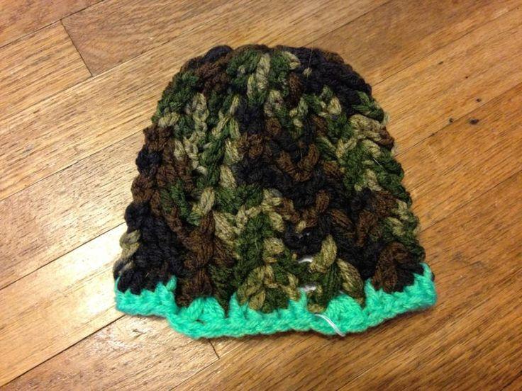 Baby boy green camp hat - Crochet creation by FashionBomb