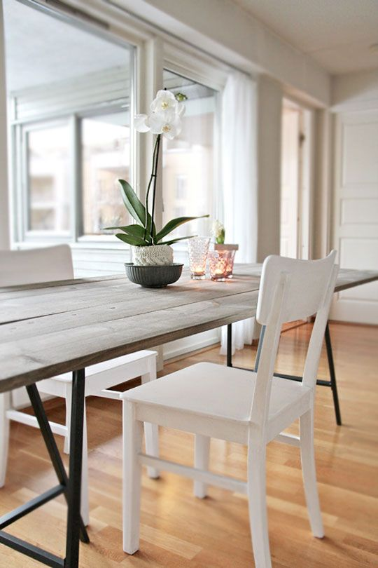 Supersimple DIY long table.  Use planks and $10 Vickra table legs from Ikea.  wow.