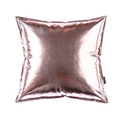 OJIA Deluxe Home Decorative Postmodern Art Metallic Soft PU Leather Throw Pillow Cover Cushion Case (18 x 18 Inch, Pink 2)