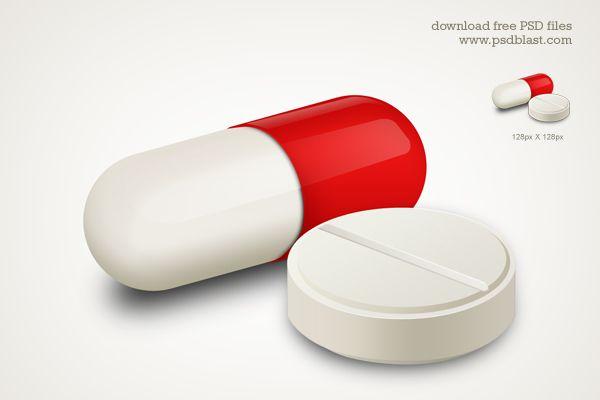 Capsule and White Pill Medicine #Icon #Free #PSD