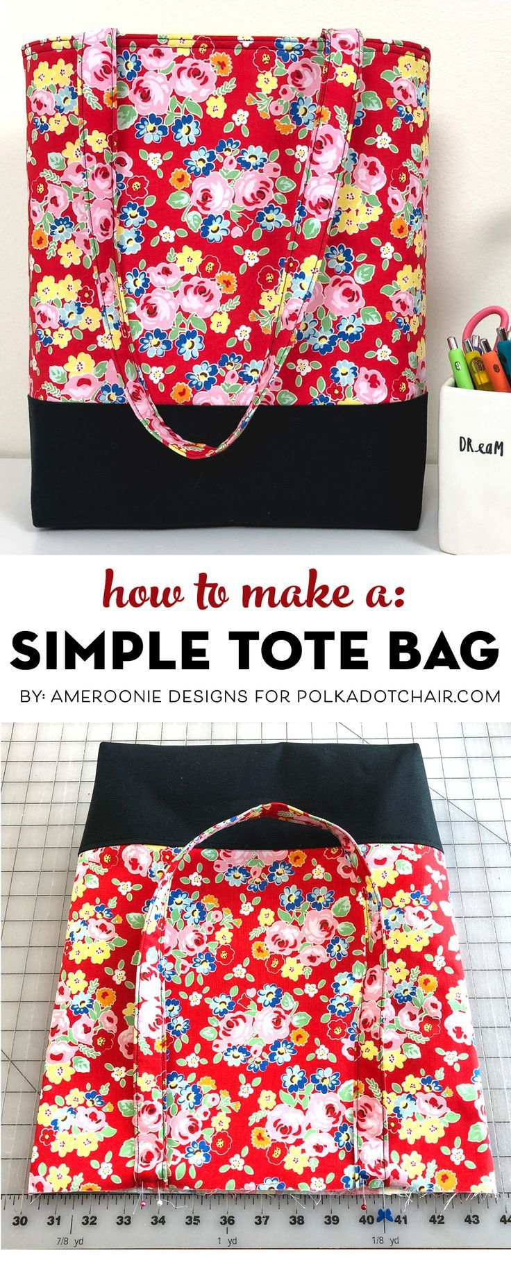 Learn How to Make a Bag; A Simple Tote Bag Pattern – It's Always Autumn