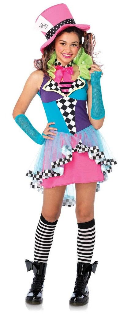 Deluxe Mayhem Mad Hatter Teen Costume Includes: dress, bow neck piece and hat. Does not include gloves, knee highs or boots. Weight (lbs) 0.72 Length (inches) 16 Width (inches) 10 Height(inches) 2