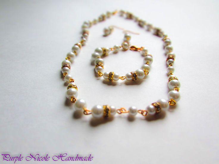 Pure Elegance - Handmade Bride Jewelry Set - necklace, bracelet, earrings by Purple Nicole Handmade (Nicole Cea Mov). Materials: glass pearls, rhinestones, golden accessories.