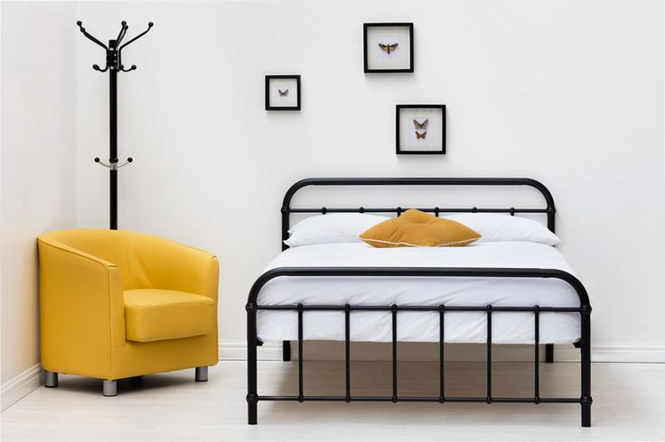Henley Black Metal Victorian Hospital Dormitory Double King Size Bed Frame