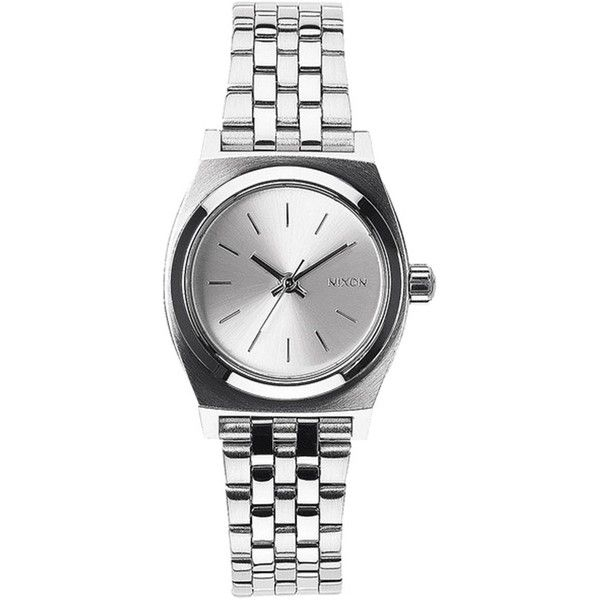 Nixon Small Time Teller Watch found on Polyvore featuring jewelry, watches, accessories, silver, nixon wrist watch, nixon, analog watch, nixon jewelry ve bracelet jewelry