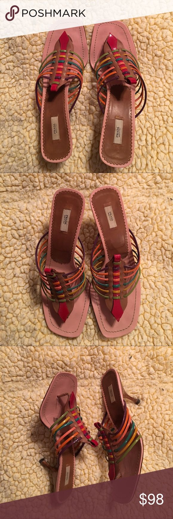 """Prada multi color strappy heeled sandals Prada multi color strappy sandals with 3"""" heels. Patent leather tops, leather soles & wooden heels. Size 10. Made in Italy. Worn a few times. Excellent used condition. Non smoking environment. Pet friendly household. Prada Shoes"""