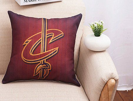 NBA+Champions+Cleveland+Cavs+Red+Decorative+Pillow+Man+Cave+Cushion