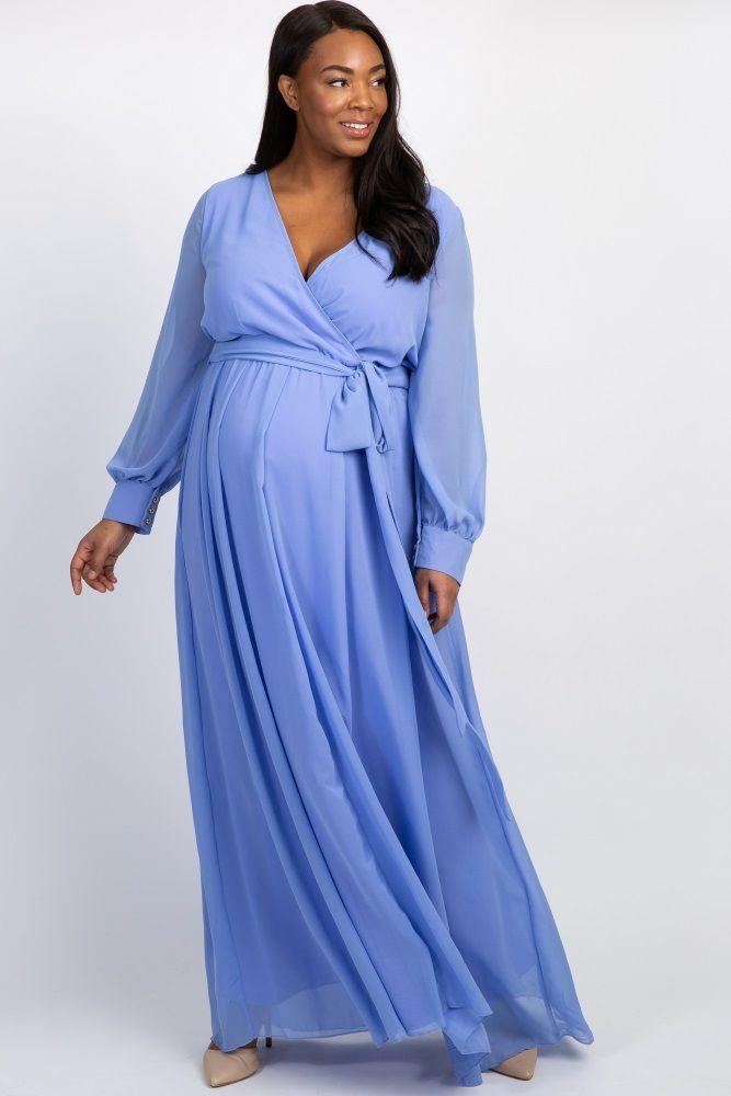 e5f2cef8286 Periwinkle Chiffon Long Sleeve Plus Maternity Maxi Dress ...