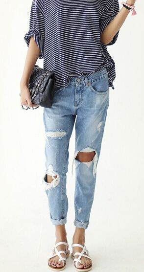 Distressed denim and striped shirt