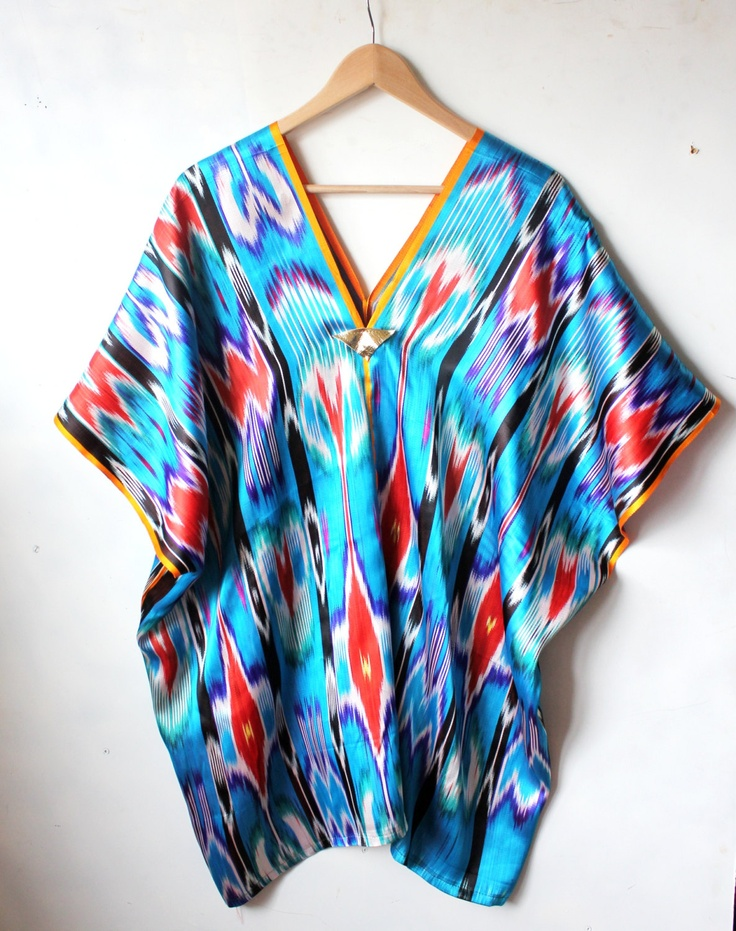 Raw silk summer dress / kaftan ( one of a kind )