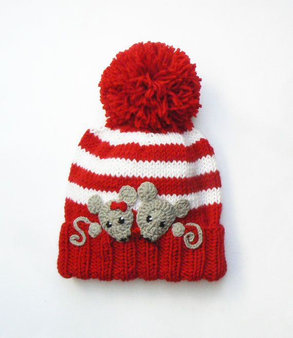 Knit Kids Hat with MICE, Pom Pom Hat, Winter Hat, Children Accessories, Kids Fashion, Red White Stripes, Gray Mice
