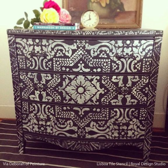 DIY Painted Furniture and Dresser with Exotic Lisboa Tile Wall Art Stencils - Royal Design Studio