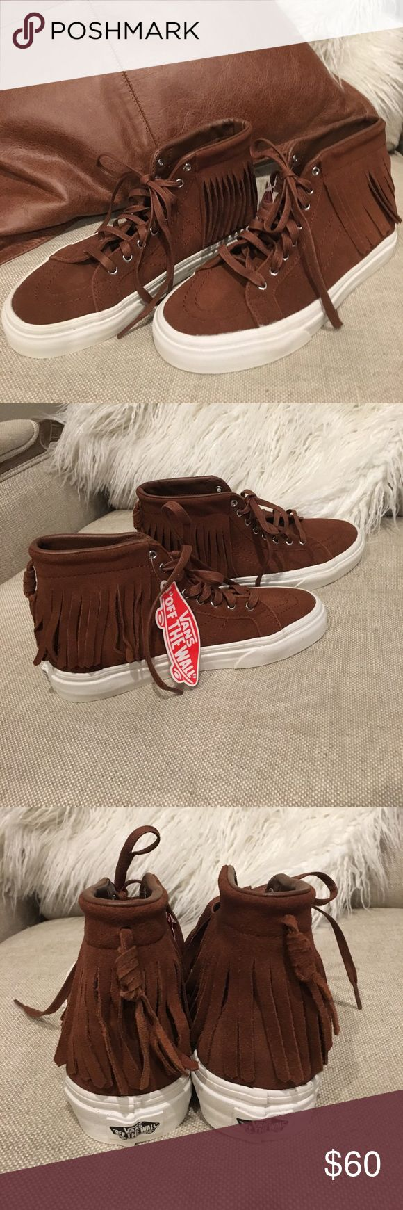 NEW-Vans Hi Moc suede with fringe-brown Brand New pair of Vans hi tops. Women's size 6 1/2. They are made of brown suede and are so cute!!! The fringe accents are so fun. Vans Makeup Eyeshadow