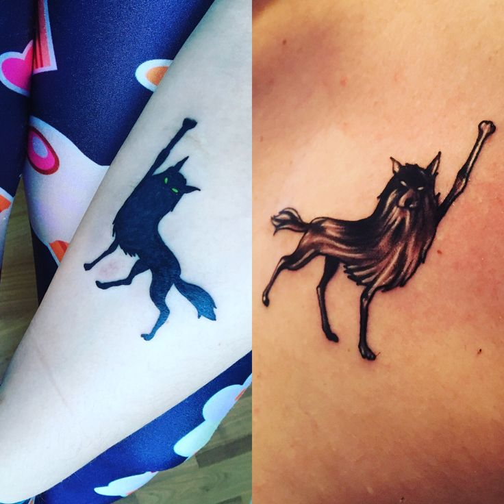 Matching Fantastic Mr. Fox tattoos By artists at BrownSoul Tattoos, Guttenberg, NJ 'Good out there'