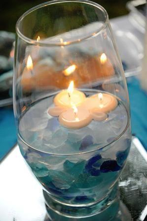 use lighter, greenish-blue colored sea glass