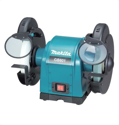 Makita GB801 Bench Grinder     Steady tool maintenance from this light, yet stable performer.     Cosmetic new design.     Balance weight installed.     2 bulbs ease your grinding jobs. For More Details: http://www.mrthomas.in/makita-gb801-bench-grinder_70