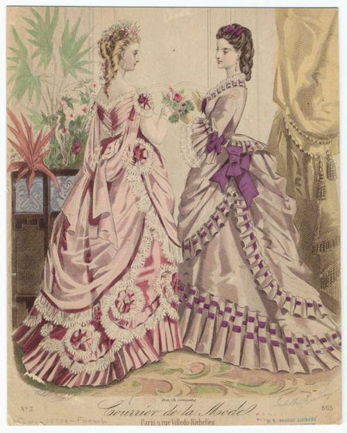 Fashion plate, 1870's, Courrier de la mode- hair