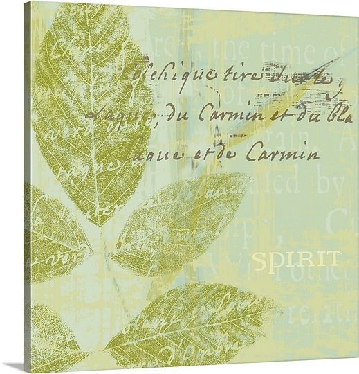"""Empower your room with a message to believe, to hope, and to dream with inspirational wall art prints. Beautiful green canvas art with inspirational words and a stenciled leaf in the background. """"Spirit"""" gallery wrap canvas print, available at GreatBIGCanvas.com."""