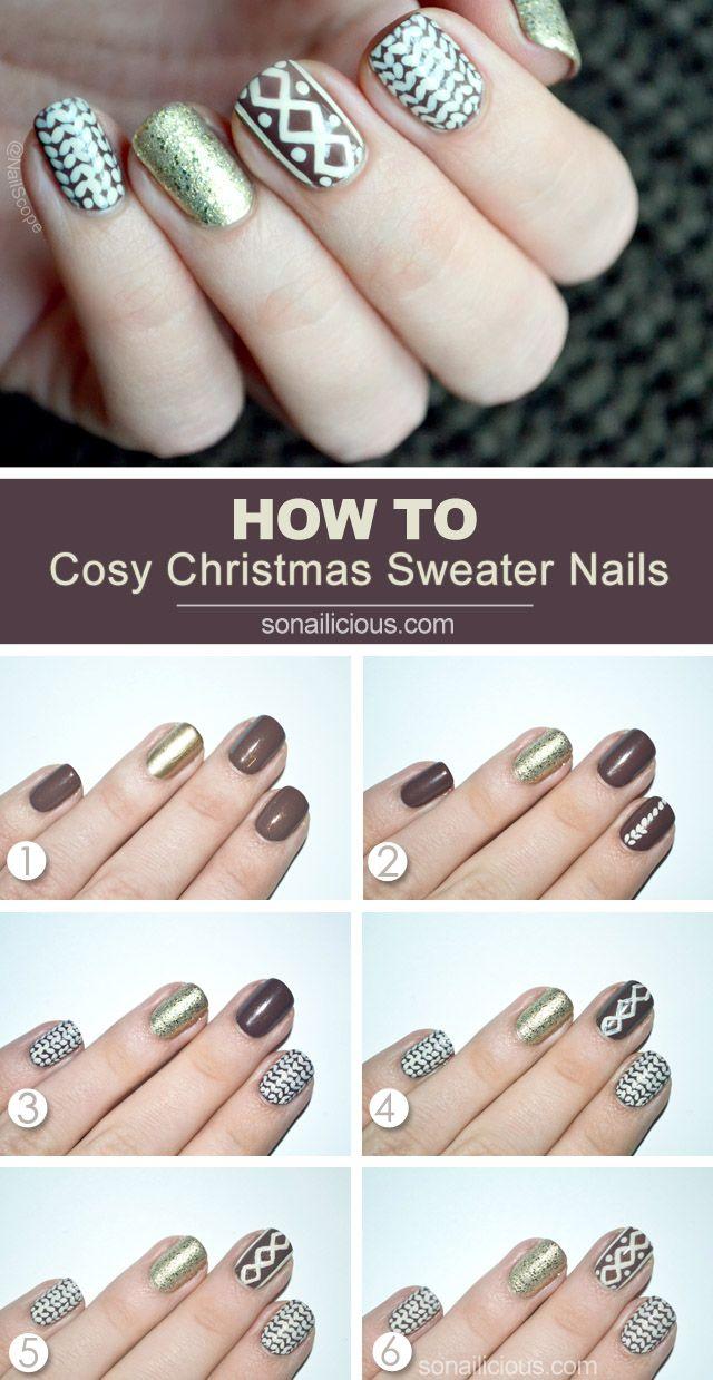 Christmas Sweater Nail Art Tutorial: http://sonailicious.com/christmas-sweater-nails-tutorial/