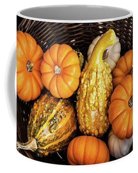 Coffee Mug featuring the photograph Pumpkins In The Basket by Evgeniya Lystsova. Perfect style for your Kitchen! Coffee time, Kitchen, Gift, Home and Office products. Our ceramic coffee mugs are available in two sizes: 11 oz. and 15 oz. Each mug is dishwasher and microwave safe. #Mugs #Gifts #Pumpkin #HomeDecor #InteriorDesign
