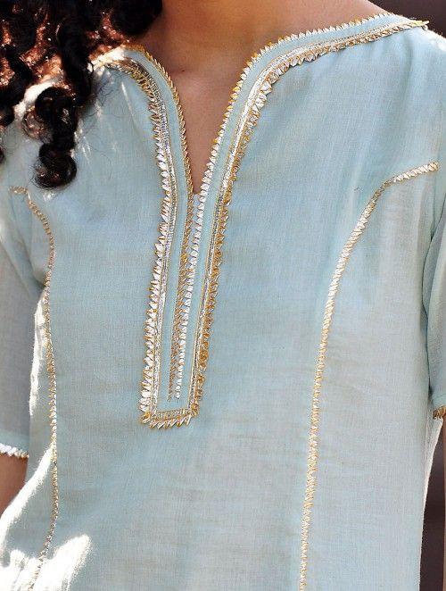 Pale Blue-Mustard Gota Embellished Cotton Kurta & Elasticated Waist Sharara & Crinkled Dupatta Set of 3
