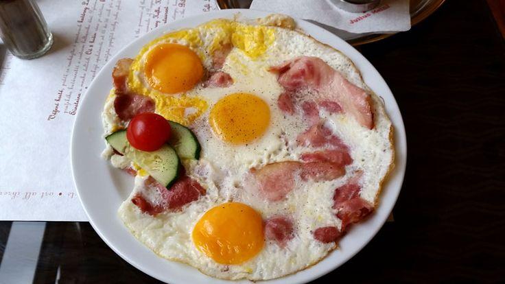 "The famous ""Kovbojsky"" (Cowboy) breakfast at the Prague Louvre cafe."