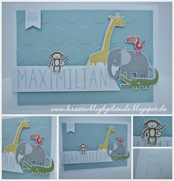 Stampin Up! Zoo Babies & Large polka dot embossing.    Kreativ Blog by Claudi: Zoo Babies