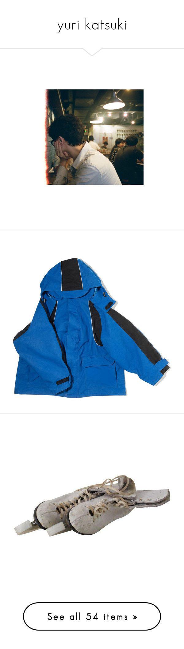 """yuri katsuki"" by citixen ❤ liked on Polyvore featuring backgrounds, people, outerwear, coats, jackets, coats & jackets, tops, blue coat, balenciaga and blue parka"