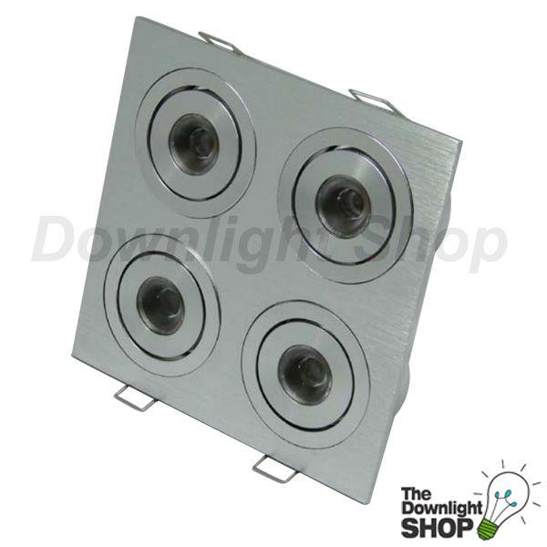 Power Puk White LED downlight, Brushed aluminium 4 x 2 way Tilt adjustable -  $216.99 SAVE: 17% OFF