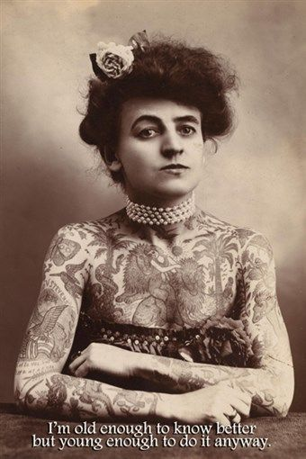 TATTOO vintage woman MOTIVATIONAL quote POSTER 24X36 sepia tone COOL RARE