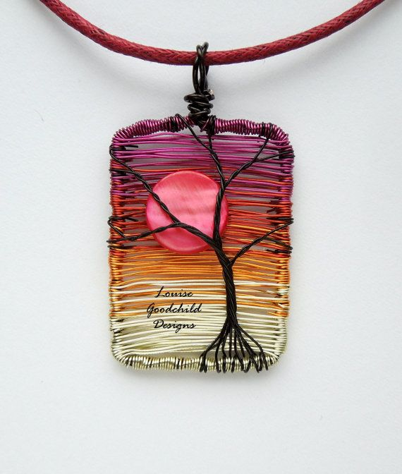 Sunset tree pendant wire tree pendant sunset by LouiseGoodchild