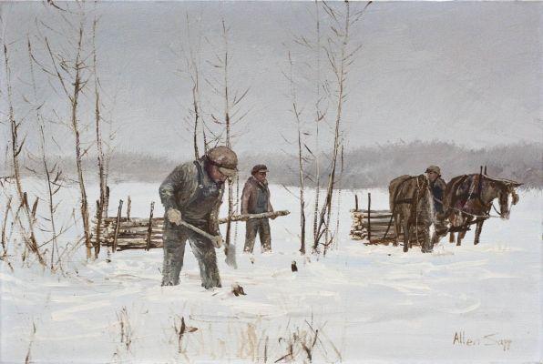 Phillip Frank is Cutting Wood by Allen Sapp