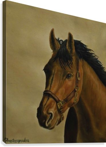 Canvas print, painting, art, horse, portrait, equine, animal, wildlife, wall art, wall decor, decorative items, earthly colors, brown, realism, pictorem