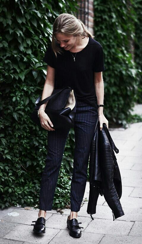 pinstripe trousers, scoop neck, flat loafers, leather jacket...very classic look