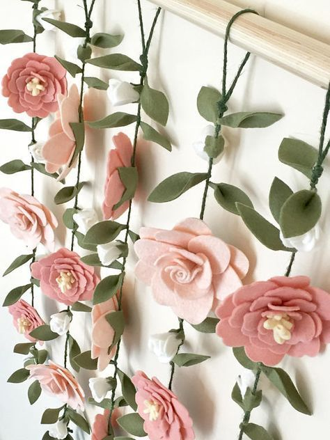 Vertical floral garland wall hangings are a touch of enchantment to a girl's room focal wall or as floral Birthday photo backdrop! Vertical floral garland wall hanging - blush pink and white - vertical garlands - blush magnolias and peonies. Deco Floral, Floral Wall, Floral Design, Diy Flowers, Fabric Flowers, Wedding Flowers, Wedding Blush, Felt Flower Diy, Diy Wedding
