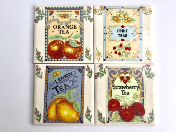 4 vintage advertising  tea themed ceramic tiles coasters by causewaybay on Etsy