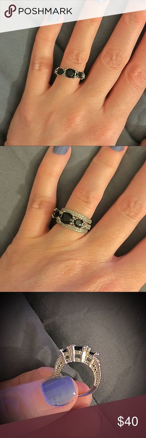Black Sapphire .925 Ring Beautiful! Never worn! Great alternative if you don't like diamonds! Looks great! I ♥️offers!!! Size 5. Added wedding bands in one pic to show what it looks like with bands (they are not included!) Jewelry Rings #jewelrydiamond