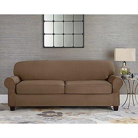 Sure Fit® Designer Suede Individual Cushion 2-Seat Sofa Slipcover ...