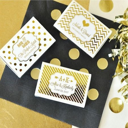 Metallic Foil Personalized Wedding Match Bo Favors