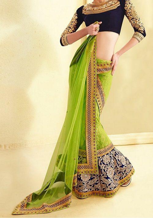 Sabysachi-inspired lehenga saree blouse design | #LehengaSaree #BloueDesigns #Lehenga