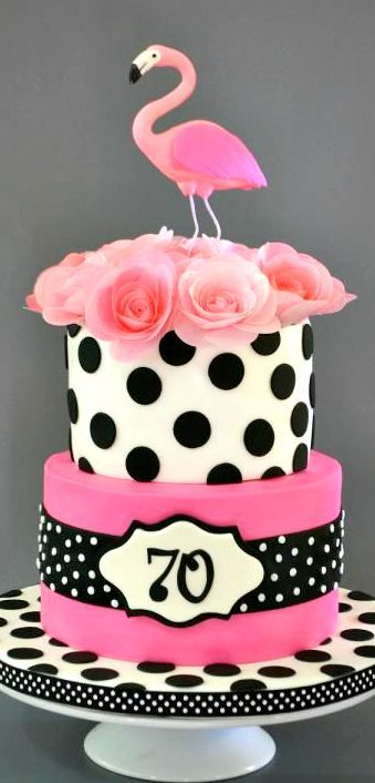 Pink Flamingo and Polka Dots Cake