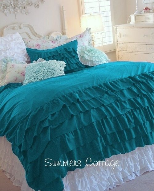 aqua and white ruffled bedding | New Arrivals from Summers at the Cottage